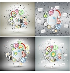 Infographic networks set with icons for business vector image vector image