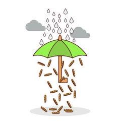Isolated cartoon investment umbrella vector image