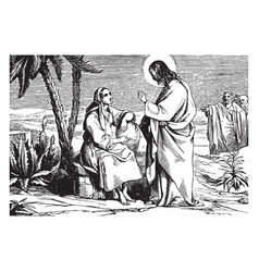 jesus speaks to the samaritan woman at the well vector image vector image