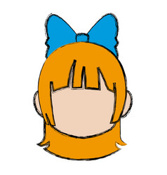 Manga anime girl chibi character little vector