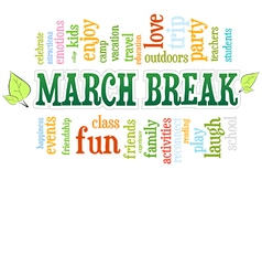 March spring school break word cloud bubble tag vector