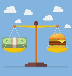 Money and burger balance on the scale vector
