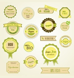 Organic labels logos and stickers vector
