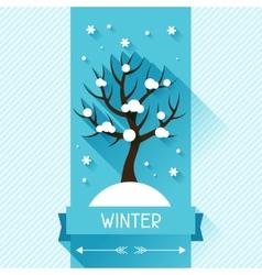 Seasonal with winter tree in flat vector