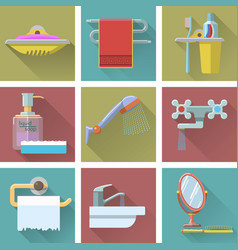 set of bathroom icons in flat style vector image vector image