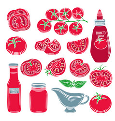 Set red decorative tomato vegetables vector