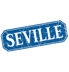 Seville blue square grunge retro style sign vector