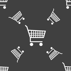shopping cart icon sign Seamless pattern on a gray vector image vector image