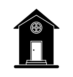 Silhouette house home property round window vector