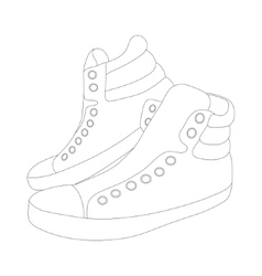 silhouette sneakers on white background vector image
