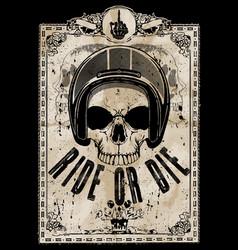 skull motorcycle helmet t shirt graphic design vector image