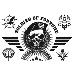 Special forces emblem with skull vector image vector image
