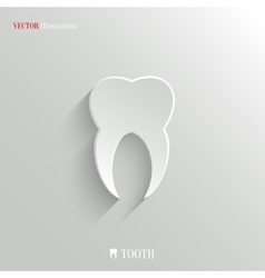Tooth icon - white app button vector image