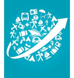travel and transportation on blue vector image