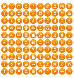 100 different professions icons set orange vector image vector image