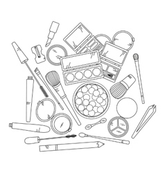 Cosmetics and fashion background with make up vector image