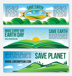 Save planet nature banners for earth day vector
