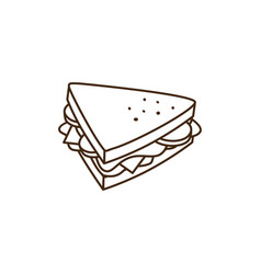 Delicious yummy sandwich for breakfast cartoon vector