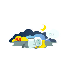 Small robot sleeps lying on pillow has arrived vector