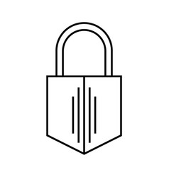 Padlock flat linear icon of lock isolated on vector