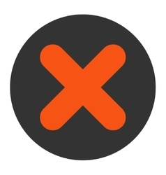Cancel flat orange and gray colors round button vector