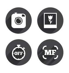Photo camera icon manual focus and macro signs vector