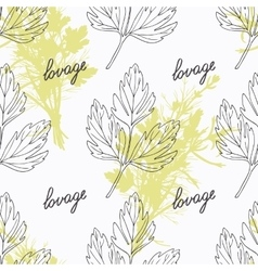 Hand drawn lovage branch and handwritten sign vector