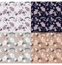 Four seamless patterns with animals and flowers vector
