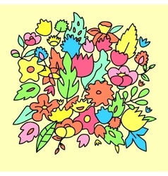 Childish cute pastel colored flowers vector