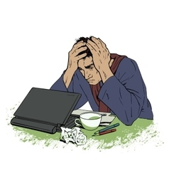 Man in despair sitting at a computer headache vector