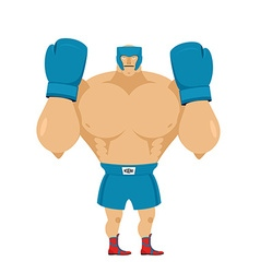Strong boxer in protective helmet athlete in rack vector