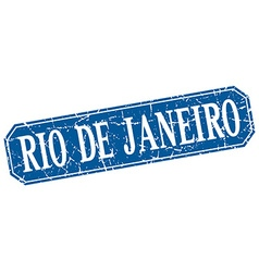 Rio de janeiro blue square grunge retro style sign vector