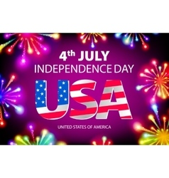 Fireworks background for 4th of July Independense vector image