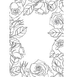 line rose frame vector image