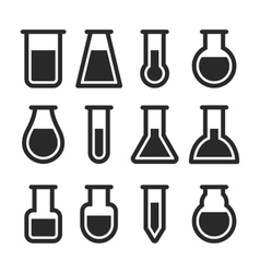 Chemical test tubes icons set vector