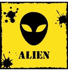 alien logo on yellow background vector image