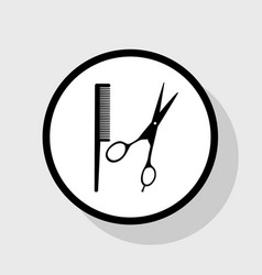 Barber shop sign flat black icon in white vector