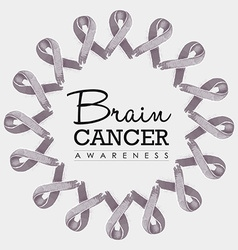 Brain cancer awareness ribbon design vector image vector image
