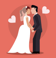 Bride and groom kissing vector
