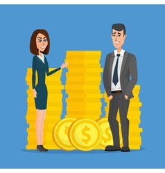 Business people stand near a pile of coins The vector image