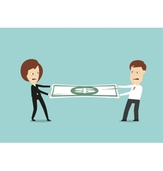 Businessman and business woman fights for money vector