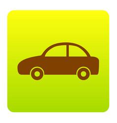 Car sign brown icon at green vector