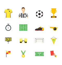 Cartoon soccer sport game color icons set vector