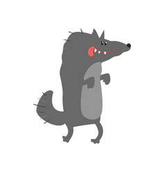 Cute cartoon wolf happy birthday colorful vector