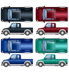 Different color of pick up trucks vector
