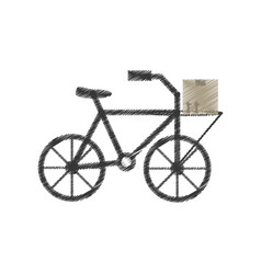 Drawing delivery bicycle box service vector