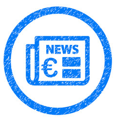 euro newspaper rounded icon rubber stamp vector image