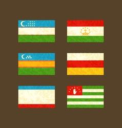 Flags of Uzbekistan Tajikistan Karakalpakstan vector image