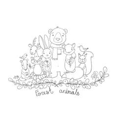Forest cartoon animals vector