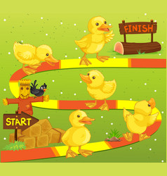 Game template with ducks in the farm vector